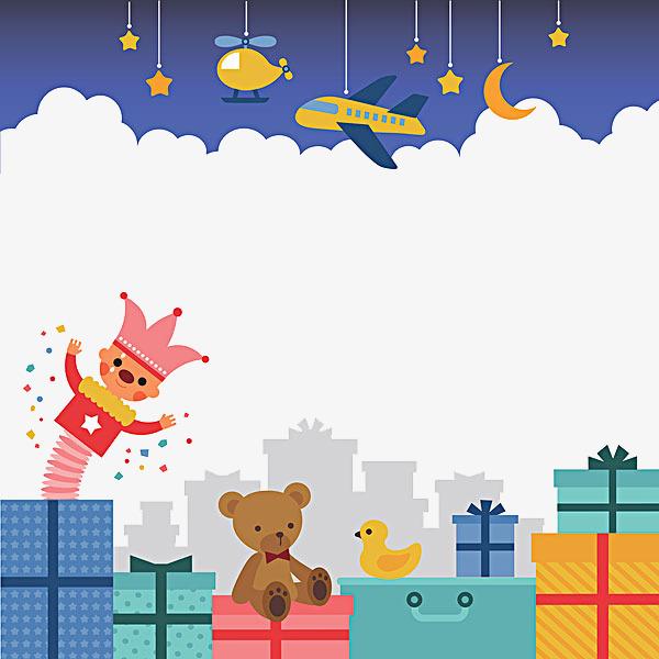 手绘背景图礼物毛绒玩具鸭子png素材下载_高清图片png