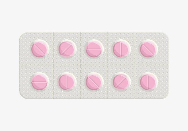 手绘粉色药片