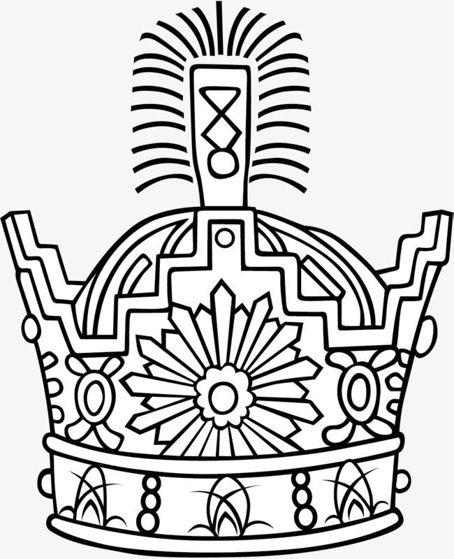 手绘黑白线条皇冠
