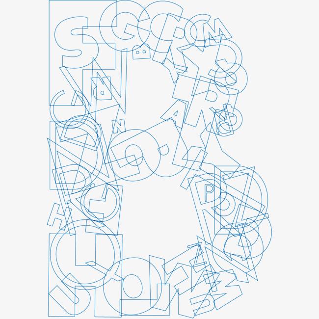 蓝色英文字母B创意组合