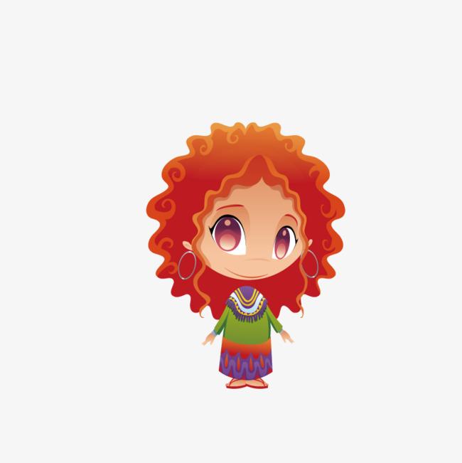 可爱卷发女孩手绘图