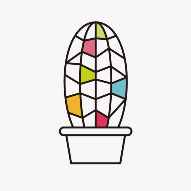 手绘仙人球简笔化png素材下载_高清图片png格式(编号