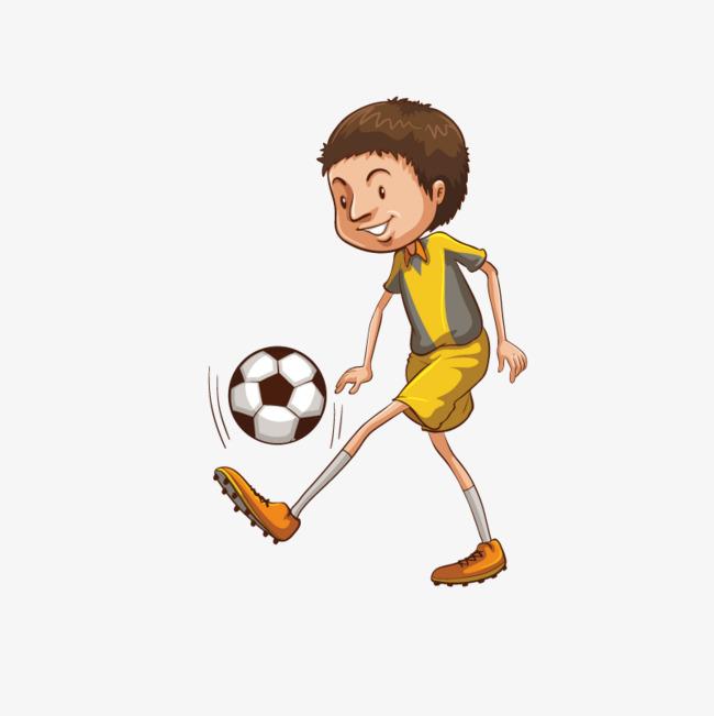 手绘卡通装饰踢足球的男生海报设计