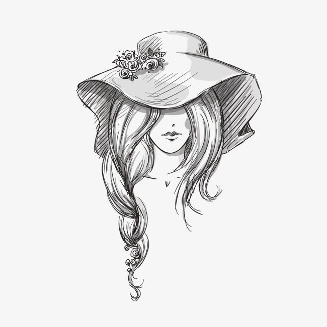手绘女子帽子矢量素材