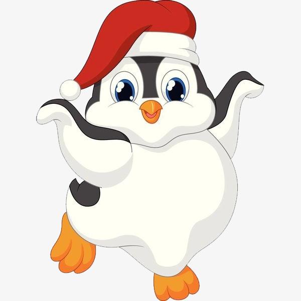 手绘卡通装饰可爱小动物可爱企鹅海报设计