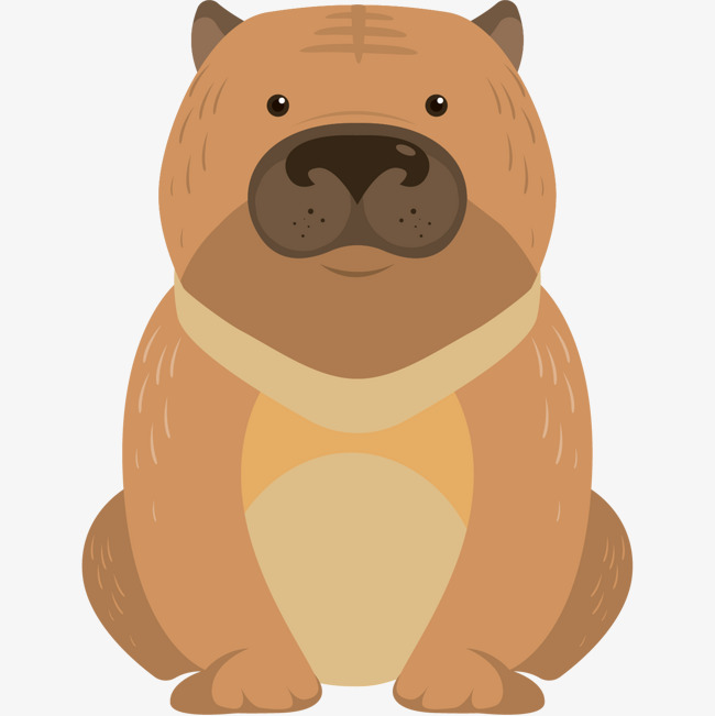 手绘卡通装饰可爱小动物海报设计蹲坐狗狗图片