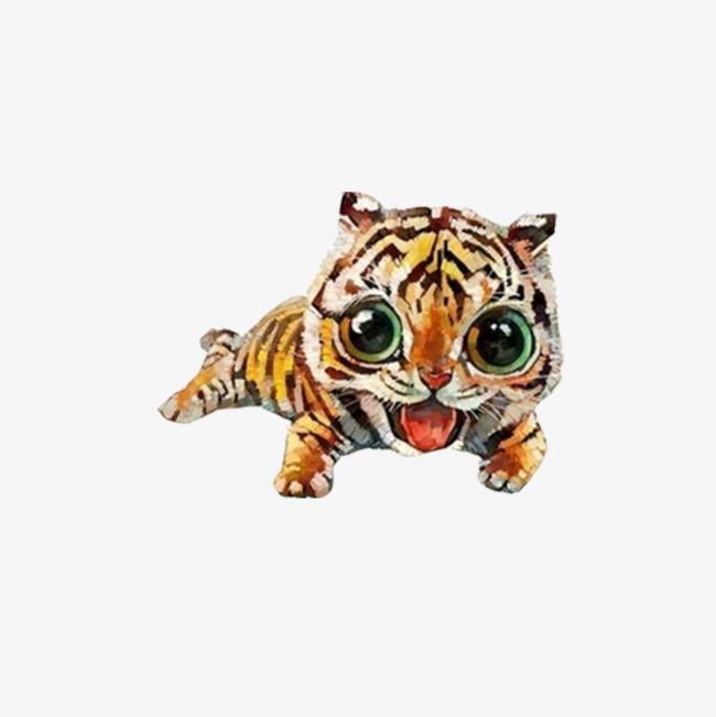 可爱的手绘小老虎