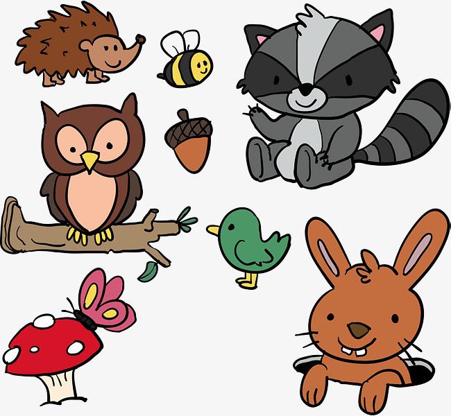 可爱森林动物设计png素材下载_高清图片png格式(编号