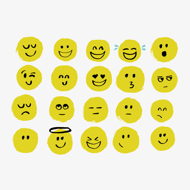 矢量 卡通 可爱 emoji 黄色 圆脸 手绘 表情 表情包表情图标 矢量图片