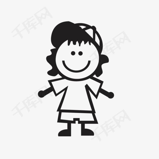 手绘黑色卡通小女孩简笔画小女孩简笔画小女孩人物简笔画人物图标线描小女孩卡通小女孩儿童