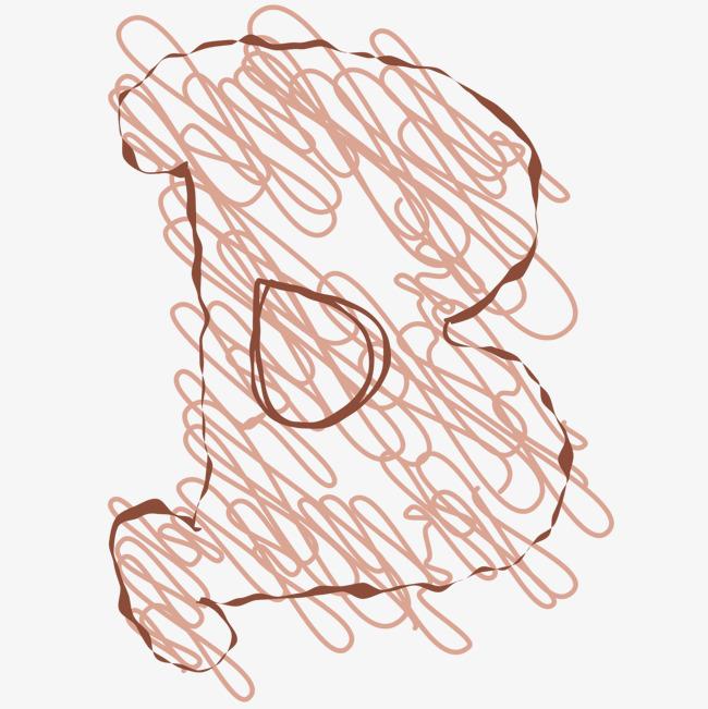 线条涂鸦绘画字母b