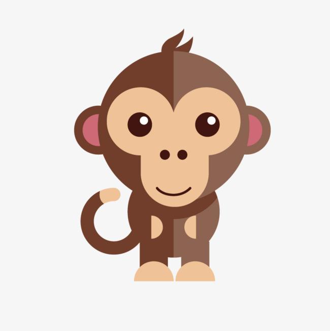 手绘扁平化卡通猴子