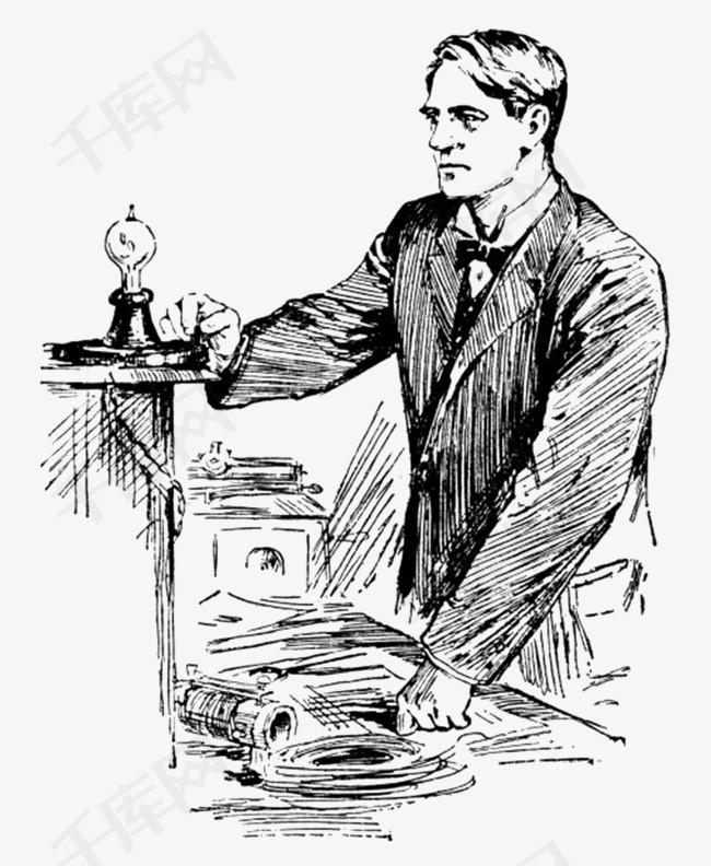 黑色素描爱迪生画像卡通手绘素材图片免费下载 高清png 千库网 图片编号9426182