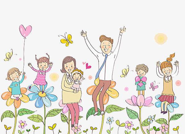 卡通花丛中欢呼玩耍的人物图片
