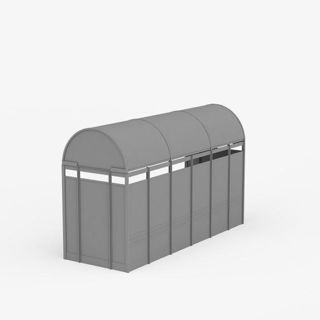 个半圆灰色公交车站台