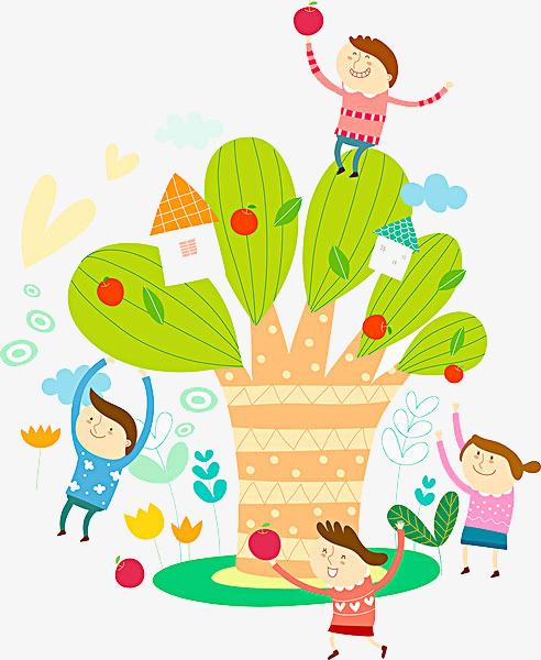 卡通树枝欢呼游玩的孩子png图片素材免费下载(编号:)图片