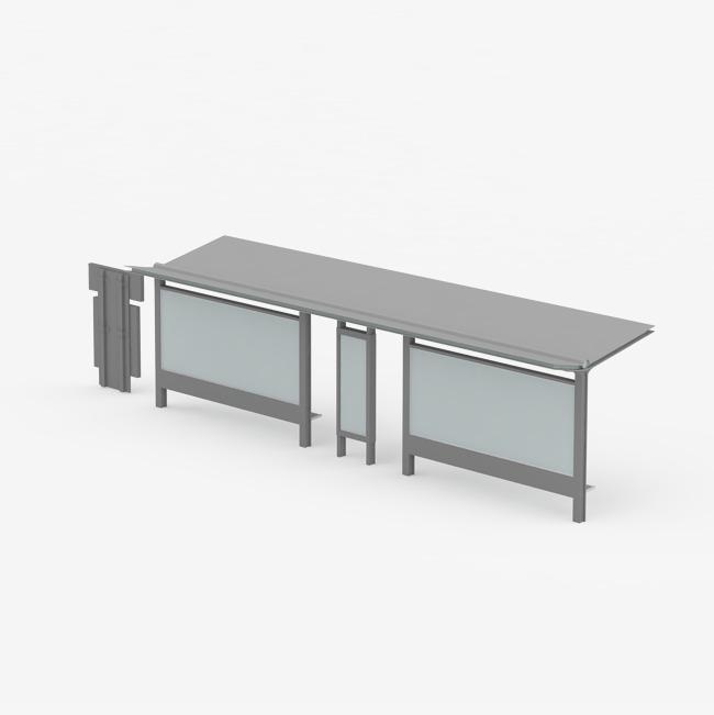 一个灰色公交车站台