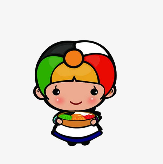 卡通上菜的料理女厨师