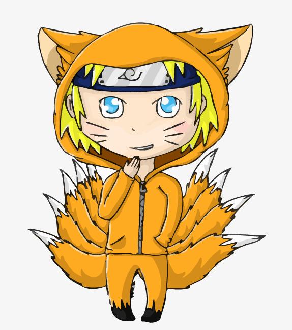 手绘卡通动物九尾狐狸拟人咧嘴免抠