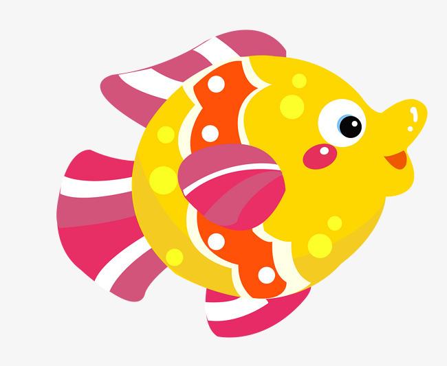 卡通手绘矢量海生动物鱼png