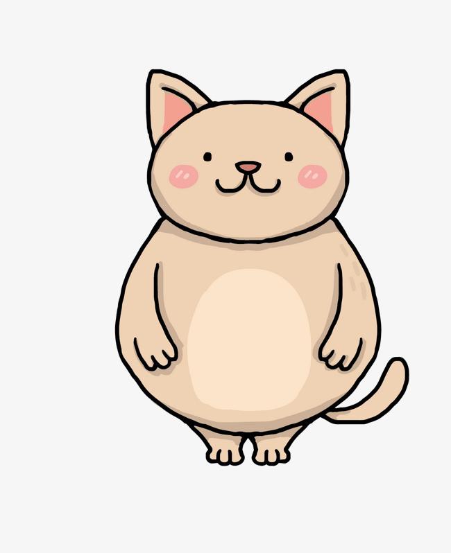 矢量卡通简洁扁平化胖猫