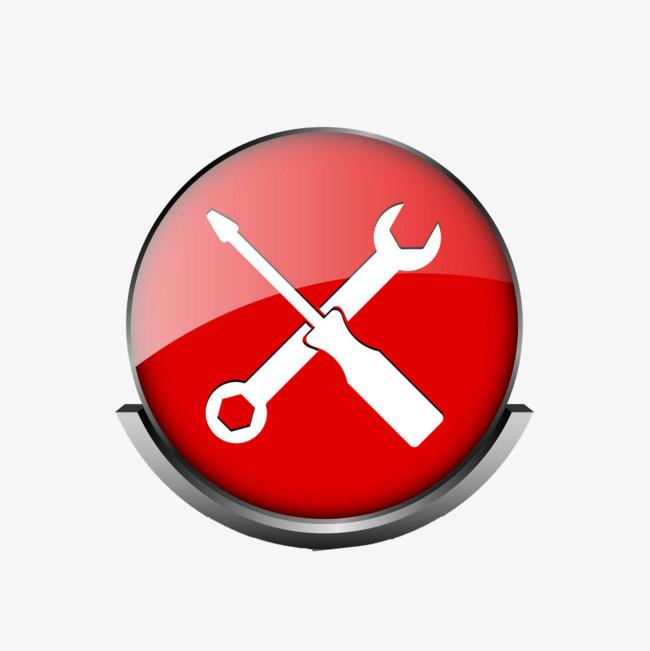 红色扁平圆形修理工具图标
