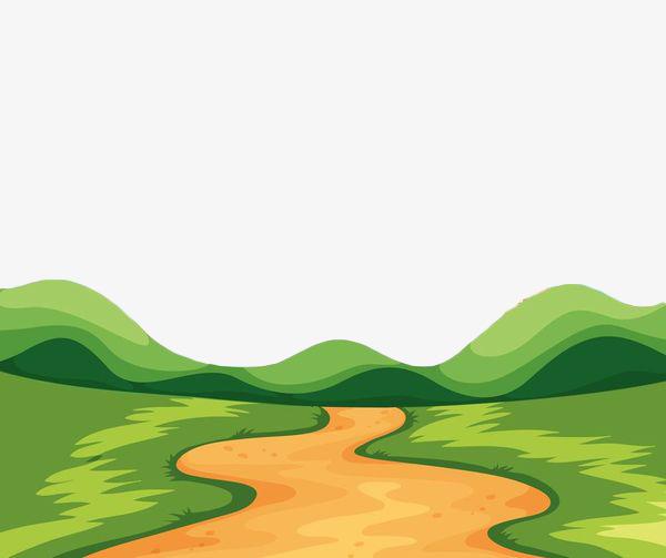 手绘矢量草地公路