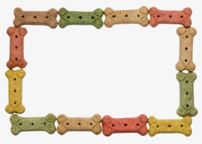 红绿黄可爱动物的食物骨头狗粮饼干实物