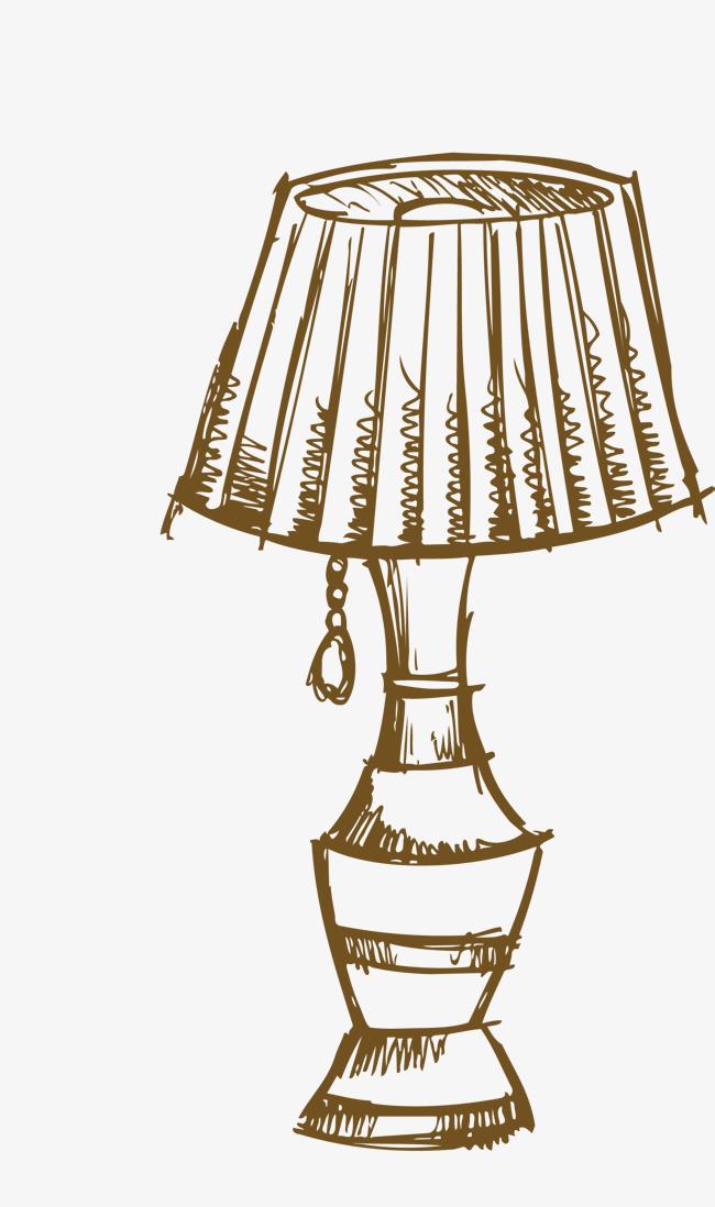 矢量手绘水彩线稿台灯