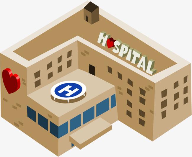 卡通黄色医院大楼图片