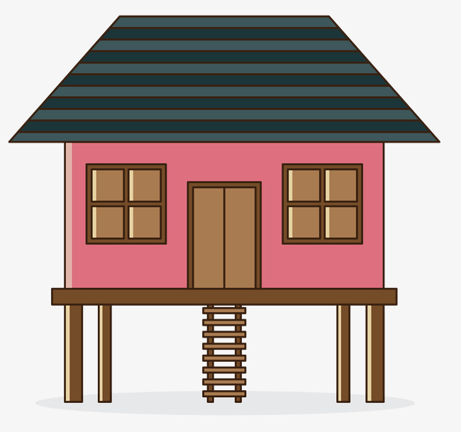 坡屋顶卡通手绘小木屋png素材下载_高清图片png格式
