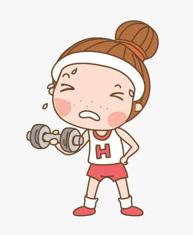 卡通红色女孩运动图片