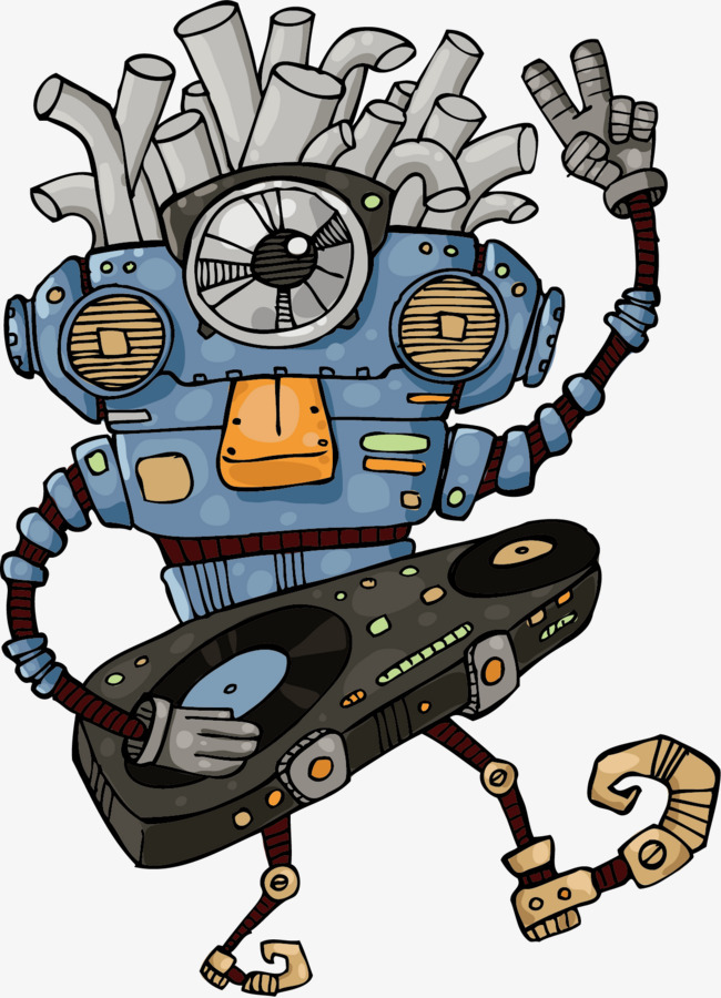 90设计提供高清png手绘动漫素材免费下载,本次擦盘机器人作品为设计师
