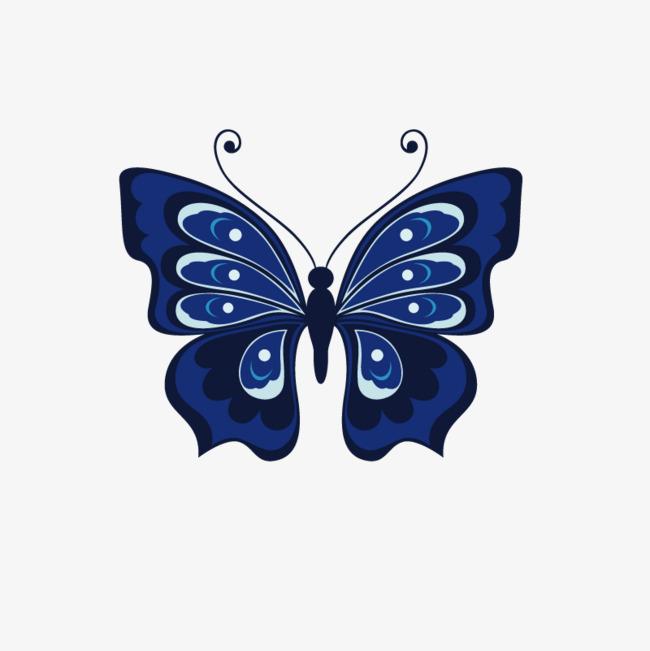 蓝色手绘的蝴蝶装饰