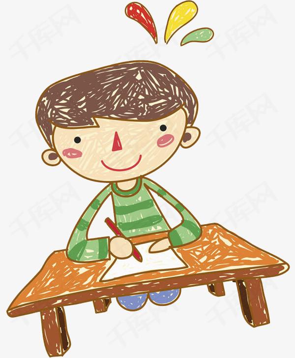 写作业的男孩免抠图学生男孩写作业卡通认真的书桌可爱的水彩画-写