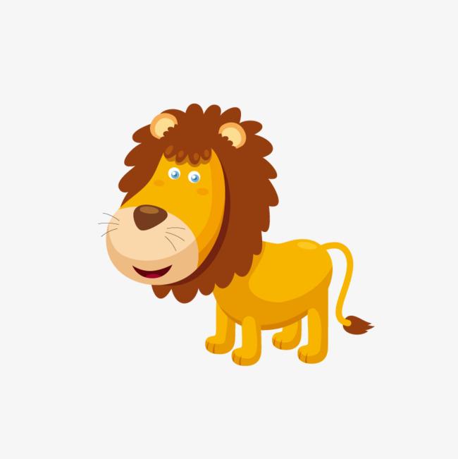 卡通可爱小动物装饰设计动物头像小狮子