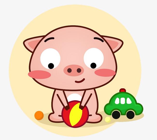 图片 > 【png】 卡通手绘玩玩具的小猪仔  分类:手绘动漫 类目:其他