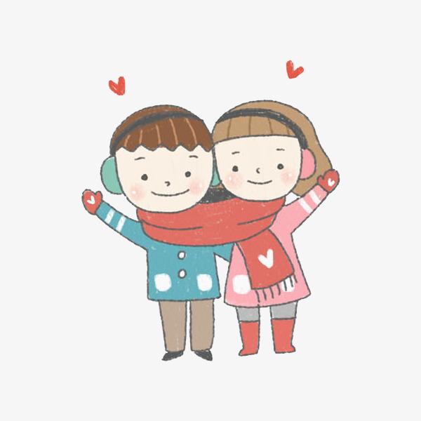 07 90设计提供高清png手绘动漫素材免费下载,本次围着红围巾卡通情侣