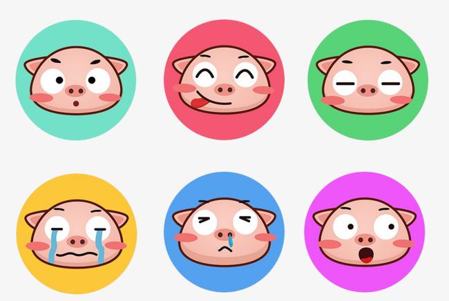 卡通手绘小猪表情