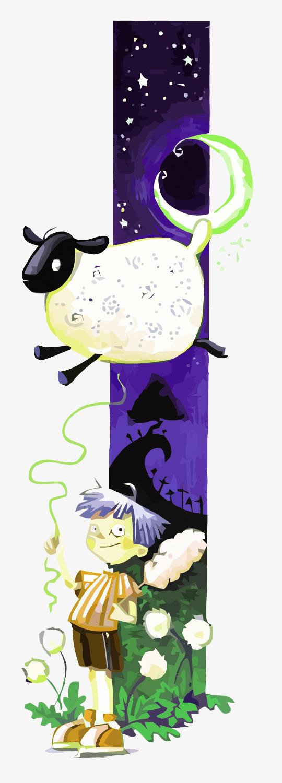 位图 90设计提供高清png手绘动漫素材免费下载,本次矢量夜晚数羊