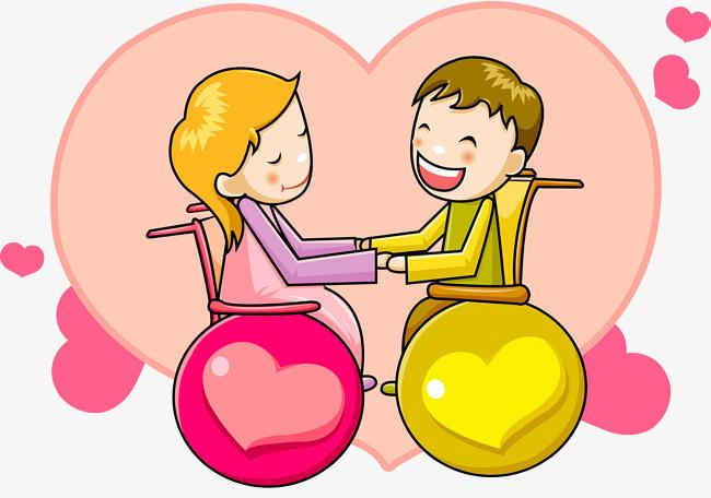 卡通爱心情侣牵手免抠图_png素材免费下载_ 2235*1563图片