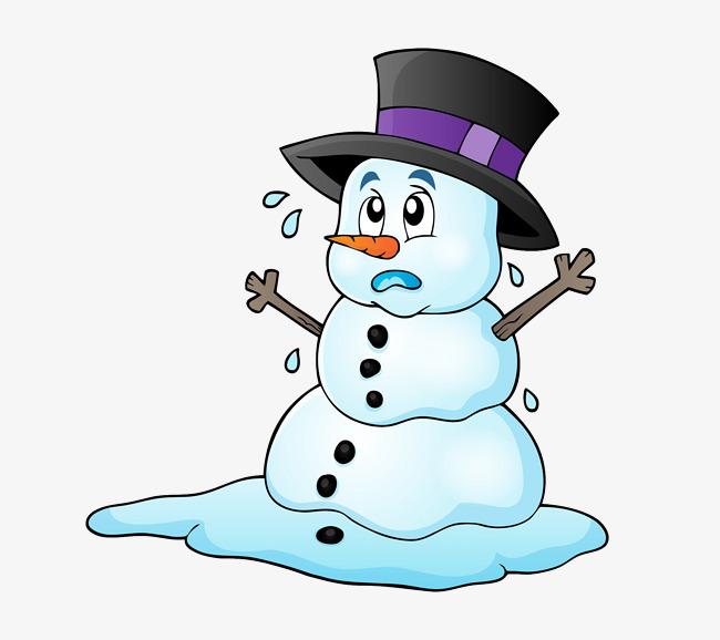 卡通手绘融化雪人
