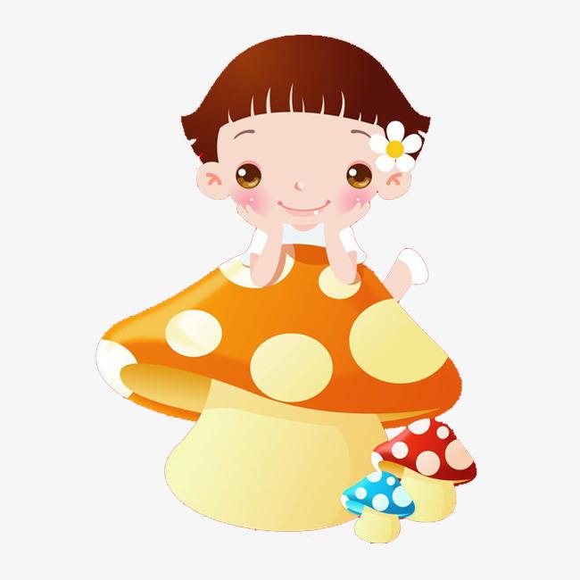 卡通蘑菇 女孩 可爱 精美 蘑菇头 手绘小蘑菇 卡通蘑菇头