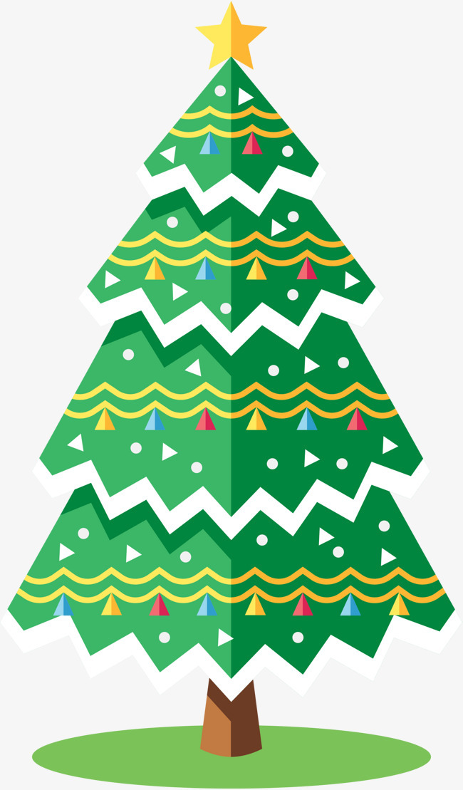 卡通绿色冬日圣诞树图片