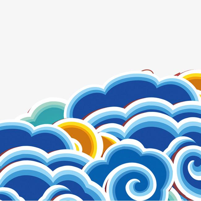 蓝色祥云节日元素