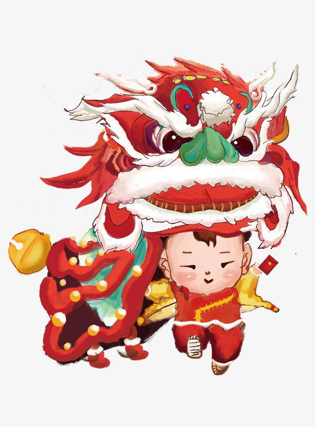 庙会舞狮子 红色系 中国风 人物 节日图片