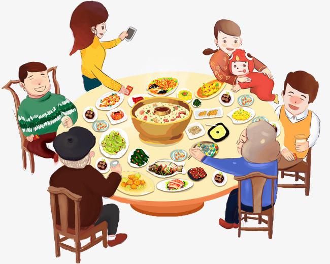 新春团圆宴手绘插画