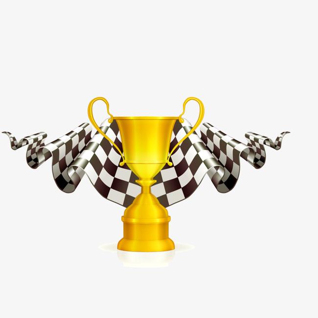f1方程式赛车奖杯与旗子设计图片