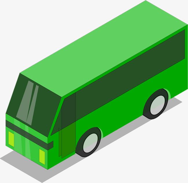 手绘绿皮公交车车免抠