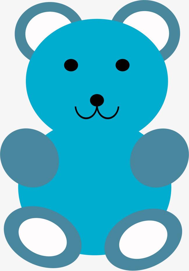 矢量手绘蓝色玩具熊
